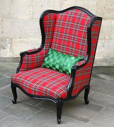 Tartan fireside chair   Recycled Furniture   Vintage Furniture Bath   Interior Design Bath