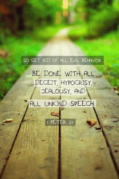 Talk and walk the talk :) Repentance each and every day.  This can be our reminder for the whole week.1 Peter 2:1 (NLT) - So get rid of all evil behavior. Be done with all deceit, hypocrisy, jealousy, and all unkind speech.