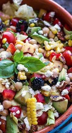 Easy Summer Herb & Chickpea Chopped Salad with Fresh Berries, Avocado, & Goat Cheese | #glutenfree #vegetarian