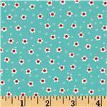 Michael Miller Aqua Red Daisy Doolittle Turquoise - Discount Designer Fabric - Fabric.com