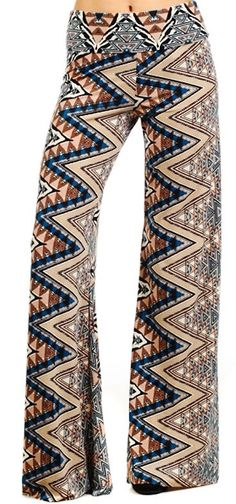 Tribal palazzo pants fold over waist S M or L.. by Foreverpeace