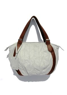 Boxing day SALE The Piano - Leather Handbag with quilted white leather