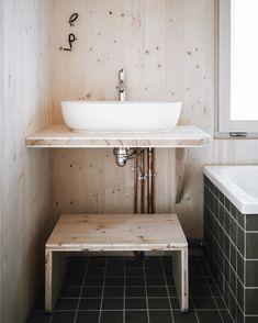"Atelier ordinaire on Instagram: ""Ordinary"" Wood Bathroom, Beautiful Bathrooms, Vanity, Posts, Instagram, Atelier, Dressing Tables, Wooden Bathroom, Powder Room"