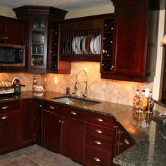 Kitchen Wall Colors With Cherry Cabinets  dark counter tops   Color     Uba Tuba Cherry Kitchen Design  Pictures  Remodel  Decor and Ideas   page 3