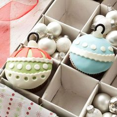 Spread #holiday cheer this season with these impossibly cute #cupcakes. More holiday baking ideas: http://www.bhg.com/christmas/recipes/holiday-cakes/?socsrc=bhgpin111512ornamentcupcakes#page=12