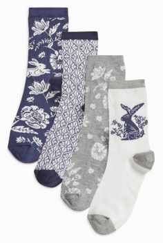 Buy Navy Floral Pattern Socks Four Pack online today at Next: United States of America