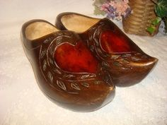Vintage Solid Carved Wood Womens Dutch Clog Wooden Shoes Heart Design