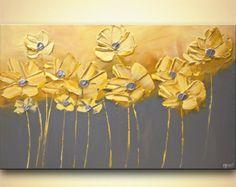 Original paisaje Floral pintura colorida flor por OsnatFineArt