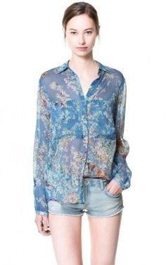 Blue Floral Big Pockets Blouse-$11.90 FREE SHIPPING