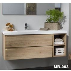 if wood vanity- then real wood, not ply Bathroom Basin, Wood Bathroom, Bathroom Renos, Bathroom Furniture, Small Bathroom, Master Bedroom Bathroom, Upstairs Bathrooms, Modern Bathroom Design, Bathroom Interior Design