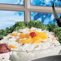 COTTAGE CHEESE FLUFF   -   cottage cheese, dry Jello flavor of your choice, mandarin oranges, crushed pineapple, chopped  Pecans, Cool Whip...  Yummo!