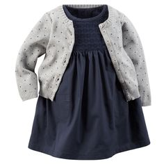 Baby Girl 2-Piece Eyelet Lace Dress & Sweater Set | Carters.com