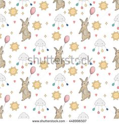 summer cute seamless pattern with rabbit .