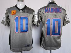 Manning Jersey Grey Nike Shadow Elite C Patch #10 Nike NFL New York Giants Jersey