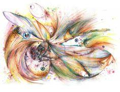 Abstracto de un pájaro en acuarela