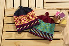 Even the grayest of days deserves a pop of color! These riotously cheerful hats will satisfy your inner Fair Isle geek, and spark a conversation wherever you go.