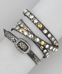 Take a look at this Snakeskin Sparkle Studded Wrap Bracelet by R U S H By DENIS & CHARLES on #zulily today!