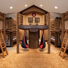 Indoor treehouse play room idea.  Pretty awesome!