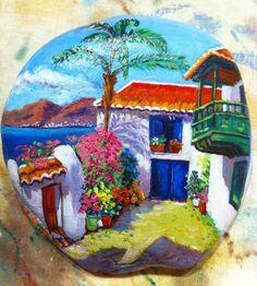 Paisaje canario #piedraspintadasamano #handmade #pintadoamano #pintadoamanoconamor