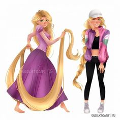 Rapunzel antes y despues