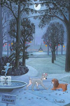 """Walt Disney's LADY AND THE TRAMP Michelle St. Laurent SIGNED Limited Edition of Canvas Print of 95 """"Our Paws Together"""" From Disney Fine Art Comes with a Certificate of Authenticity We are honored to be part of the Disney Fine Art program, which means we can offer you this amazing art direct from the source. And this limited edition is a knock-out! Edition Size: 95 Material: Giclee on Canvas, Hand-Embellished Signed: by Michelle St. Laurent Size: 27"""" x 18"""" Unframed and shipped rolled NOTE: handli Disney And Dreamworks, Disney Pixar, Disney Films, Punk Disney, Disney Characters, Disney Kunst, Arte Disney, Disney Magic, Images Disney"""