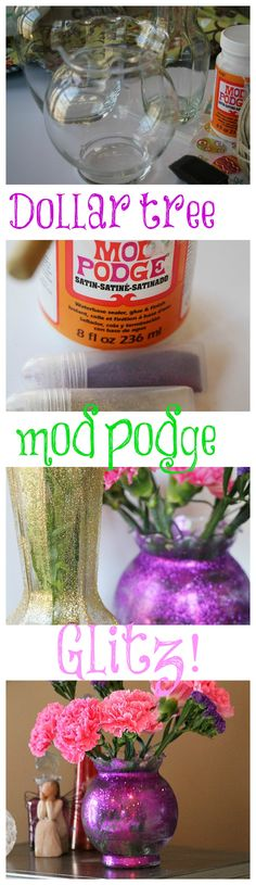 dollar tree mod podge glitter vases