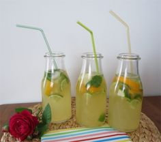 home made lemonade: with zitrone, lime, orange, mint and stevia leaves