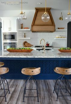 Spring Parade of Homes Tour - Blue Island with Gold Fixtures and Floating Shelves - by Two Thirty~Five Designs