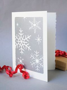 Silver Snowflakes Christmas Card, Winter Holiday Notecard, Hand-printed 5x7 Snow Linocut Card, Blank Inside