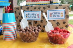 Simply Beautiful By Angela: Paw Patrol Birthday Party. Candy Bar Puppy Chow Whoppers and Twizzler Chew Toys Dog Themed Parties, Puppy Birthday Parties, Puppy Party, Birthday Party Themes, 2nd Birthday, Birthday Ideas, Dog Themed Food, Halloween Party Themes, Birthday Brunch