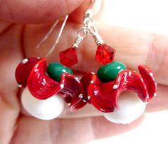 Christmas Earrings Holiday Earrings Red White by Elegencebyelaine