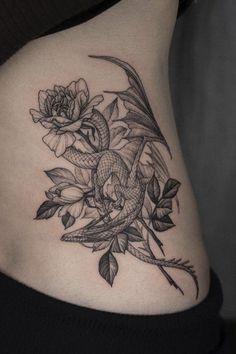 Tribal Dragon Tattoos, Small Dragon Tattoos, Tattoos Skull, Small Tattoos For Guys, Dragon Tattoo Designs, Body Art Tattoos, Tattoo Ink, Wing Tattoos, Thai Tattoo