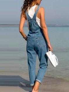 Women plain stylish demin long jumpsuits – ebuytrends Jumpsuit Outfit, Denim Jumpsuit, Denim Overalls, Denim Jeans, Overalls Women, Dungarees, Jeans Pants, Trousers, Rompers Women