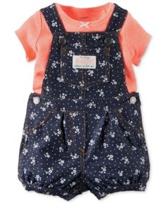 Carter's Baby Girls' 2-Piece Neon T-Shirt & Floral-Print Shortall Set