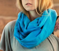 Blue Cotton Gauze Infinity Scarf Blue Scarf by ForgottenCotton Made in the USA
