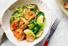 Teriyaki salmon with zucchini noodles recipe cook with campb Zucchini Noodle Recipes, Zucchini Noodles, Salmon Recipes, Fish Recipes, New Recipes, Cooking Recipes, Chicken Zucchini, Soup Recipes, Recipies