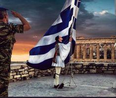 Honour to the flag Athens - Greece Zorba The Greek, Greece Pictures, Greek Flag, Greek Warrior, Athens Greece, Athens Acropolis, Greece Islands, Army & Navy, Big Love