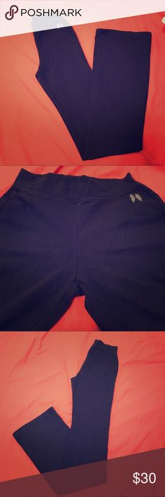 Victoria Secret Yoga Legging (X-Long) Worn twice but I purchased them an extra long and they are just too long for me. Measurements are posted in a picture. They are a size small true to size. Might be slightly see through if you wear bright panties underneath. No flaws at all. They are flare/boot cut. The color is navy blue Victoria's Secret Pants Boot Cut & Flare