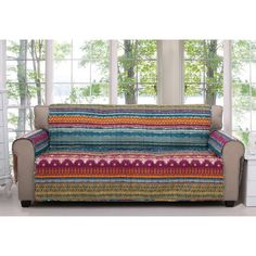 Bring the spirit of the west into your living room with this Southwest furniture sofa protector. The covering has a waterproof lining and is quilted for extra strength. The stabilization panels easily tuck into the cushions to keep the cover in place.