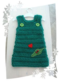 Crochet ladybird green toddler dress by sweetlittlebugs on Etsy