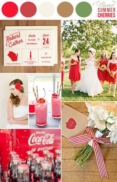 wedding color combination: Sweet Summer Cherries: cherry red, white, tan and green