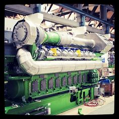 A Jenbacher gas engine in the overhaul facility at our Gas Engines site in Jenbach, Austria. Taken with instagram-- see more at http://generalelectric.tumblr.com/