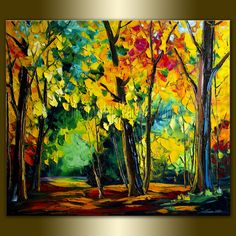 Original Textured Palette Knife Landscape Painting Oil on Canvas Contemporary Modern Art 27X31 by Willson Lau. $325.00, via Etsy.