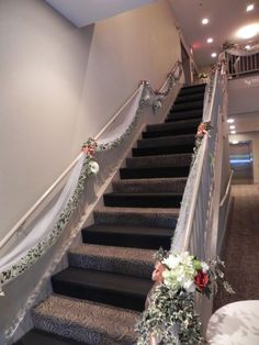 Tony and Amanda's wedding staircase. Battery operated lights in the bouquets Wedding Staircase Decoration, Wedding Stairs, Church Wedding Decorations, Wedding Mandap, Wedding House, Mehendi Decor Ideas, Mehndi Decor, Stairway Decorating, Stair Walls