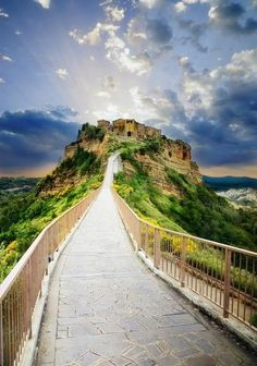 Medieval village, Civita di Bagnoregio, Italy ~ founded by Etruscans over twenty-five hundred years ago but has seen its population dwindle to just fifteen residents over the course of the century. 90 miles north of Rome. Places Around The World, Oh The Places You'll Go, Places To Travel, Travel Destinations, Places To Visit, Around The Worlds, Dream Vacations, Vacation Spots, To Infinity And Beyond