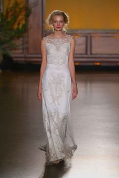 """""""Eva"""" beaded gown by Claire Pettibone Article: Inside """"The Gilded Age"""" Fall/Winter Collection by Claire Pettibone Photography: Courtesy of Claire Pettibone    NY Bridal Week. Photo: Courtesy of Claire Pettibone. Read More: http://www.insideweddings.com/news/fashion/inside-the-gilded-age-fallwinter-collection-by-claire-pettibone/2515/"""