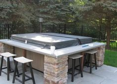 Backyard Hot Tub Deck Jacuzzi Ideas For 2019 Hot Tub Bar, Hot Tub Deck, Hot Tub Backyard, Backyard Patio, Backyard Landscaping, Backyard Ideas, Patio Bar, Landscaping Ideas, Deck Bar