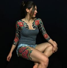 Peonies 3/4 Sleeve and snake - Japanese tattoo by Caio Piñeiro