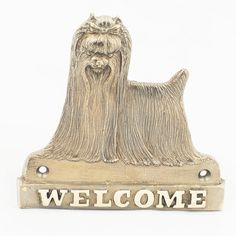 Yorkshire Terrier dog welcome hanging by ArtDogshopcenter on Etsy