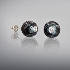 "Galatea: ""Rhythm of Life"" Carved Tahitian Pearl Earrings with .08 cttw diamonds"